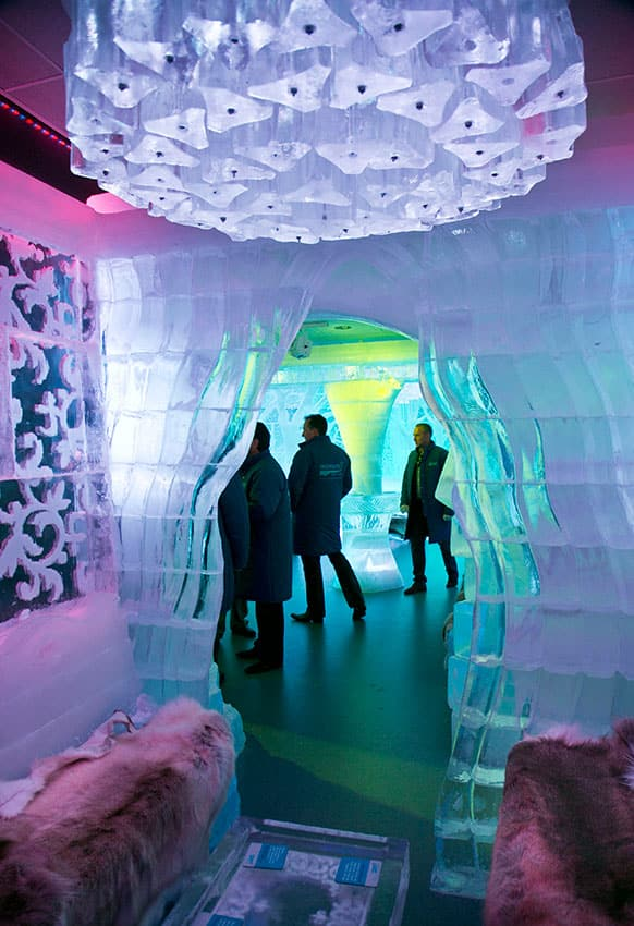 A view from the VIP room show coat-clad customers at the Minus 5 ice bar, in New York.