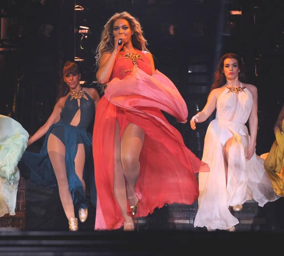 Singer Beyonce, performs on her