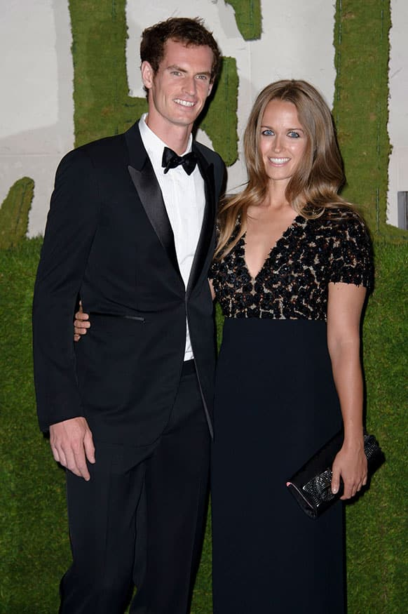 British tennis player and winner of Wimbledon 2013 Andy Murray and his partner Kim Sears arrive for the Wimbledon Champions Dinner 2013, in London.