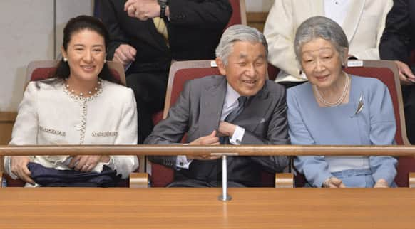 Japanese Emperor Akihito, center, Empress Michiko, right, and Crown Princess Masako, left, watch a concert of the Gakushuin university`s alumni in which Crown Prince Naruhito plays the viola at Tokyo Metropolitan Theatre in Tokyo.