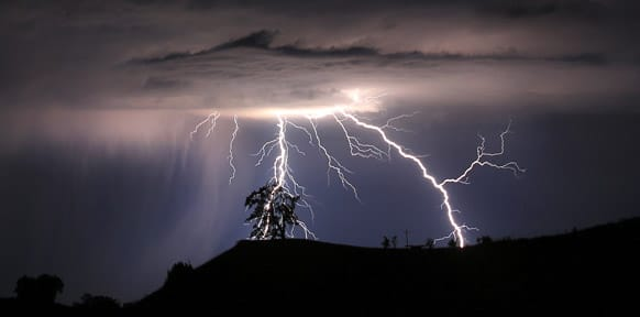 Lightning strikes above the Geysers area of northern Sonoma County.