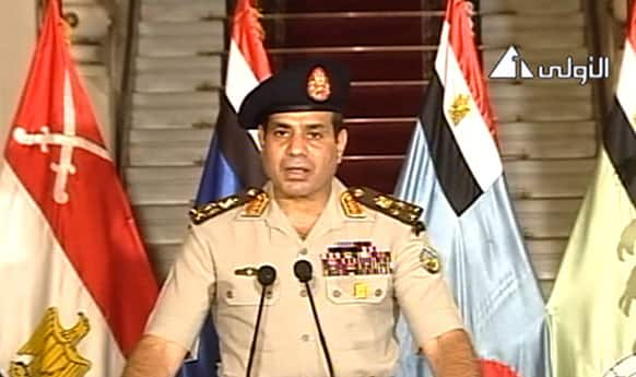 This image made from video shows Lt. Gen. Abdel-Fattah el-Sissi addressing the nation on Egyptian State Television. Egypt`s military chief says president is replaced by chief justice of constitutional court.
