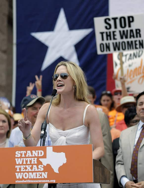 Actress Alexandra Cabot speaks during a rally supporting abortion rights outside the Texas Capitol, in Austin.