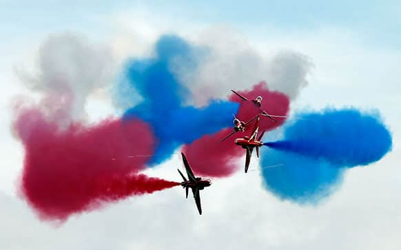 Royal Airforce Red Arrows perform prior to the British Formula 1 Grand Prix at Silverstone circuit, Silverstone, England.