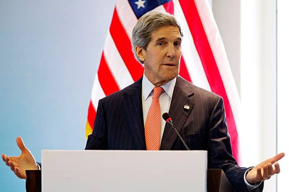 US Secretary of State John Kerry speaks at an opening event of the India-U.S. Higher Education Dialogue in New Delhi.