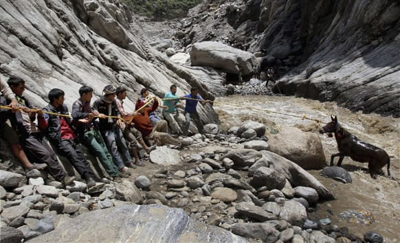 People rescue a pony with the help of a rope from the Mandakini river at Gauri Kund, in northern Indian state of Uttarakhand.