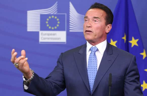 Former Governor of California and founding chair of the R20 initiative Arnold Schwarzenegger addresses the media, at the European Commission headquarters in Brussels.