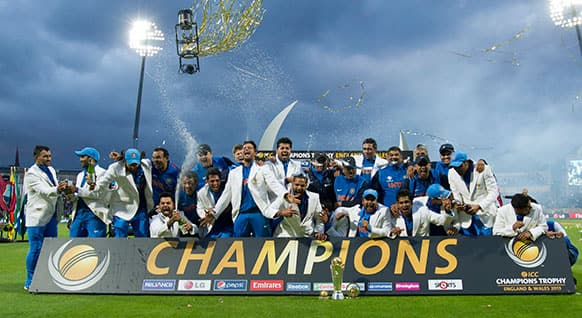 India`s players celebrate winning the ICC Champions Trophy Final cricket match against England at Edgbaston cricket ground, Birmingham, England.