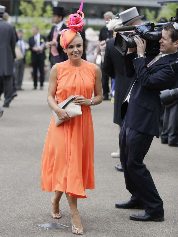 Singer Katherine Jenkins arrives and poses for the media on the first day of the Royal Ascot horse race meeting in Ascot, England.