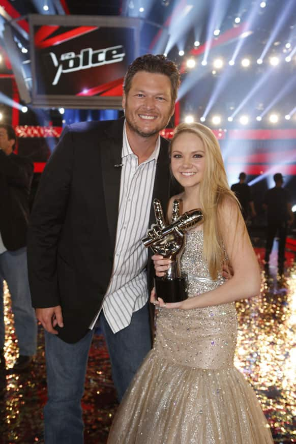 This image provided by NBC Blake Shelton and Danielle Bradbery pose after she won season-four of