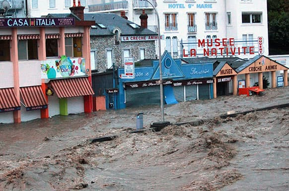 Shops in the center of Lourdes southwestern France, under water.