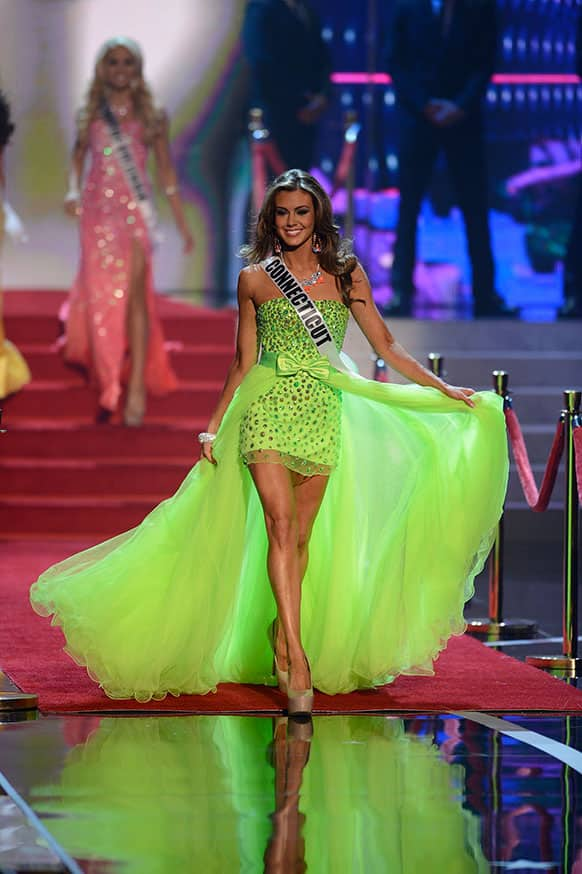 Miss Connecticut Erin Brady walks onstage during the Miss USA 2013 pageant in Las Vegas.
