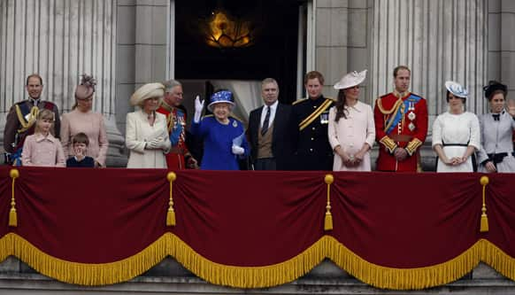 Britain`s Queen Elizabeth II surrounded by members of her family, on the balcony of Buckingham Palace, during the Trooping The Colour parade, in London. Queen Elizabeth II celebrated her birthday with traditional pomp and circumstance but without her husband by her side.