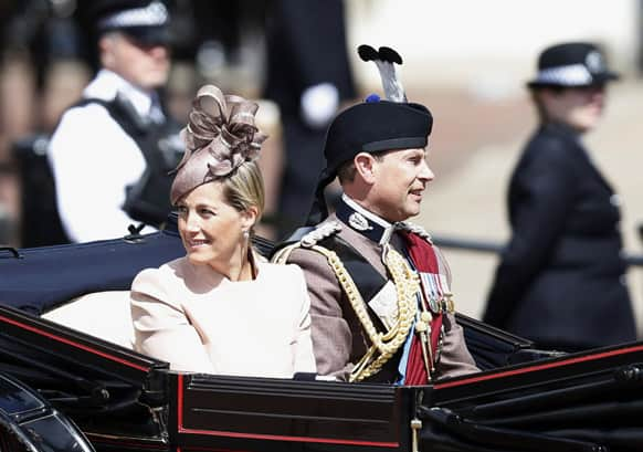 Britain`s Sophie, Countess of Wessex and Prince Edward, leave Buckingham Palace in a horse drawn carriage for the Trooping The Colour parade, at the Horse Guards Parade in London.