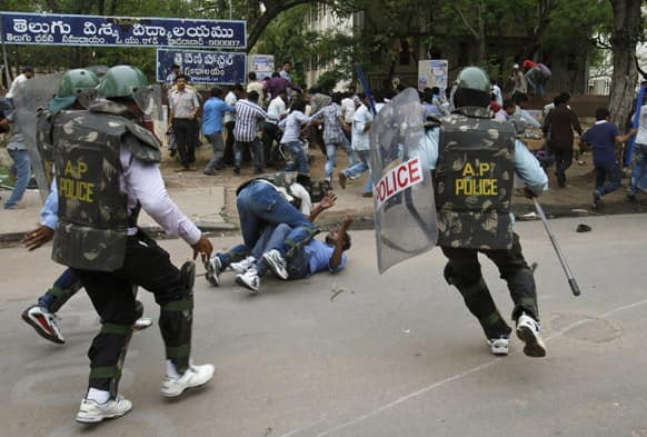 Student protestors supporting the demand for the creation of a new state called Telangana, clash with police in Hyderabad.