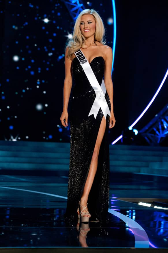 Miss Nevada USA 2013, Chelsea Caswell competes in her evening gown during the 2013 Miss USA Competition Preliminary Show in Las Vegas.