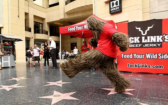 Sasquatch and Jack Link's celebrate National Jerky Day at Hollywood and Highland in Los Angeles.