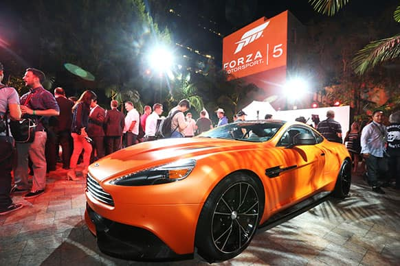 The Aston Martin Vanquish is seen at the Xbox Forza Motorsport 5 E3 Event at the Vibiana in Los Angeles.