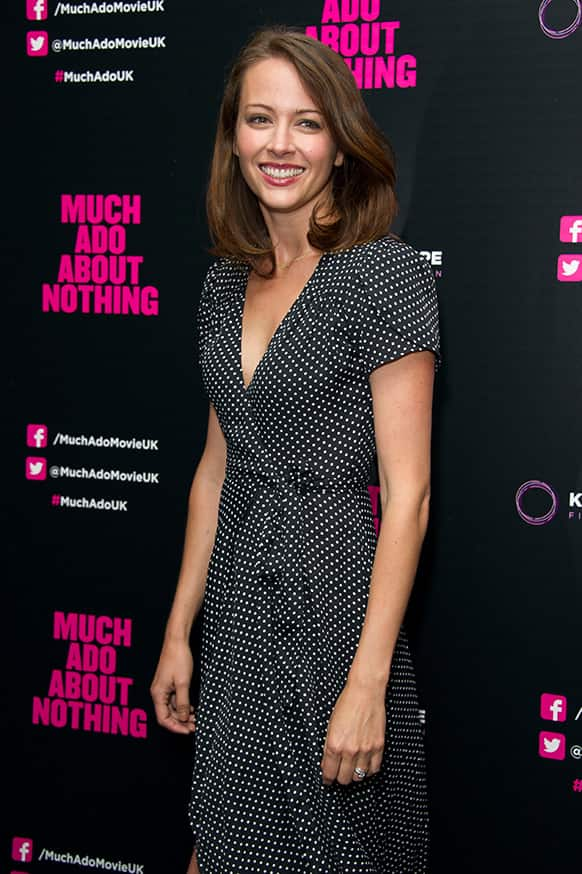 US actress Amy Acker arrives for the UK Premiere of `Much Ado About Nothing` in London.