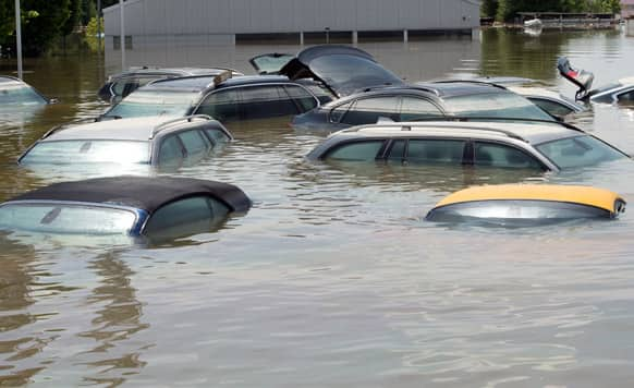 Cars stand submerged in the floodwater of the river Danube in Deggendorf, southern Germany. Heavy rainfalls in the past days cause flooding along rivers and lakes in Germany, Austria, Switzerland the Czech Republic and Hungary.