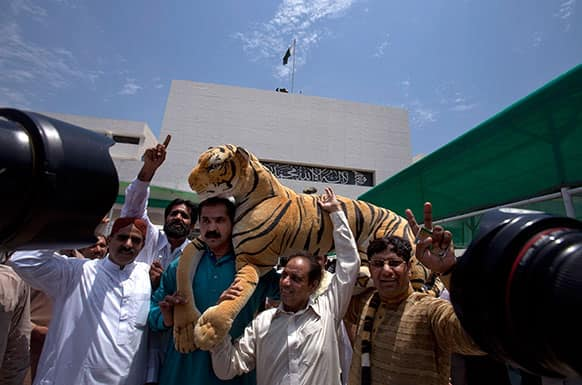 Supporters of Pakistan`s upcoming Prime Minister Nawaz Sharif carry a stuffed animal, which was the election symbol of Sharif`s party, outside the National Assembly building in Islamabad, Pakistan.