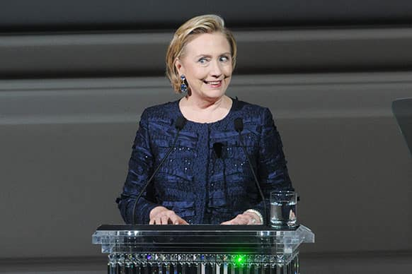 Former Secretary of State Hillary Rodham Clinton speaks on stage during the 2013 CFDA Fashion Awards at Alice Tully Hall in New York.