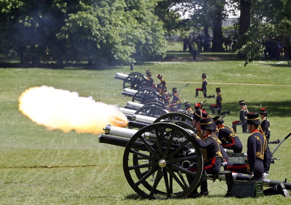 The King`s Troop Royal Horse Artillery, the ceremonial saluting battery of the Household Division, fires a 41-gun Royal Salute from Green Park in London in honour of the 60th Anniversary of the Coronation of Britain`s Queen Elizabeth II.
