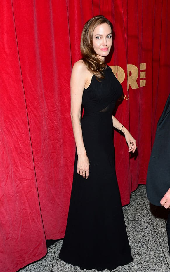 Angelina Jolie arrives at the World Premiere of `World War Z` at the Empire Cinema in London.