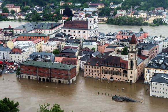 Parts of the old town re flooded by the river Danube in Passau, southern Germany. Heavy rainfalls cause flooding along rivers and lakes in Germany, Austria and the Czech Republic.
