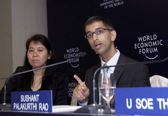 Sushant Palakurthi Rao, senior director of the Head of Asia of World Economic Forum, talks to journalists during a press conference for the upcoming World Economic Forum at a hotel in Yangon, Myanmar.