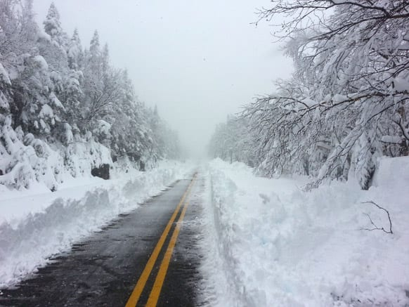 This photo provided courtesy of ORDA/Whiteface shows Whiteface Mountain Veterans` Memorial Highway after a heavy snowfall.