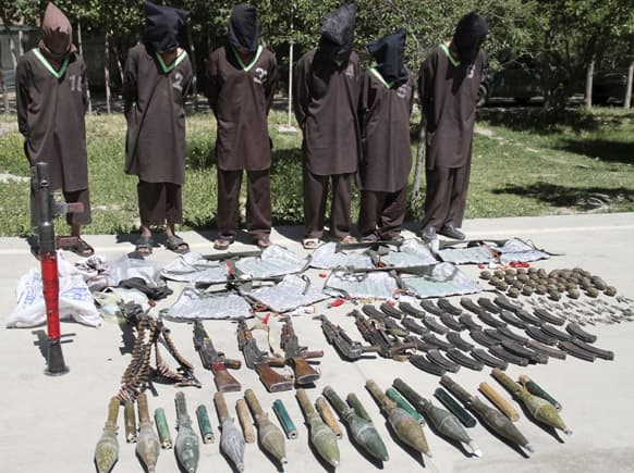 Insurgents suspected of being from the Haqqani network are presented to the media at the intelligence agents of Security (NDS) headquarters in Kabul, Afghanistan.