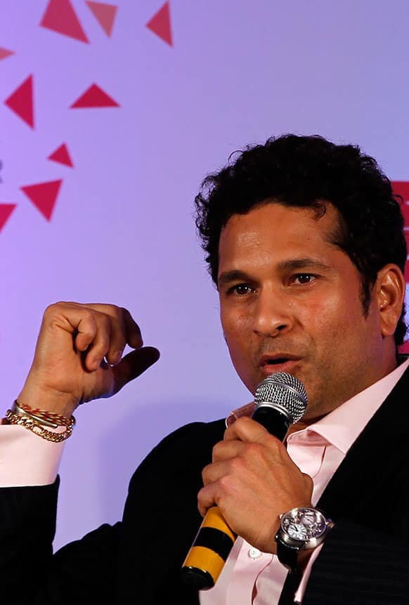 Indian cricketer Sachin Tendulkar speaks during a book release function in Mumbai.