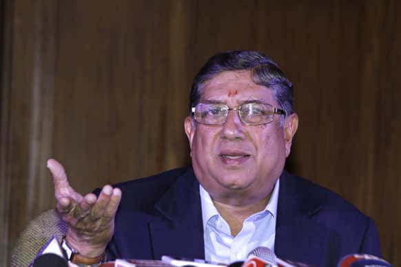 Narainswamy Srinivasan gestures during a press conference in Kolkata.