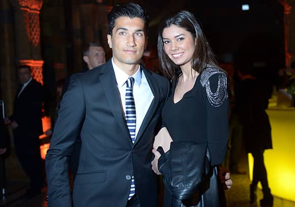 Dortmund`s Nuri Sahin and his wife Tugba arrive for the club`s party at the Natural History Museum in London, England.