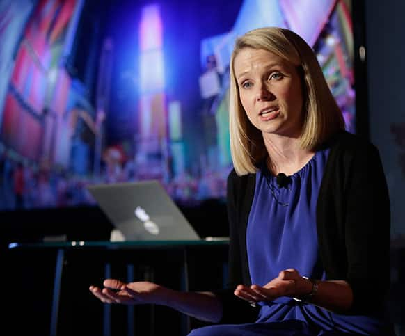 Yahoo CEO Marissa Mayer speaks during a news conference in New York. Yahoo edged up 31 cents, or 1.2 percent, to $26.83 after the Internet company said it was buying online blogging forum Tumblr for $1.1 billion.