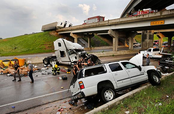 A tornado caused extensive damage along I-40 at the junction with US 177 on the west side of Shawnee, Okla..