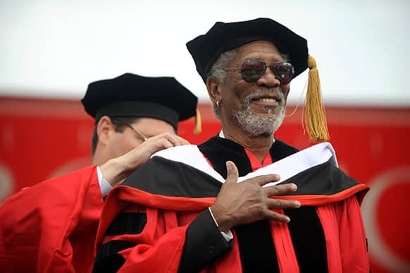 Actor Morgan Freeman receives an honorary degree during the Boston University commencement in Boston.