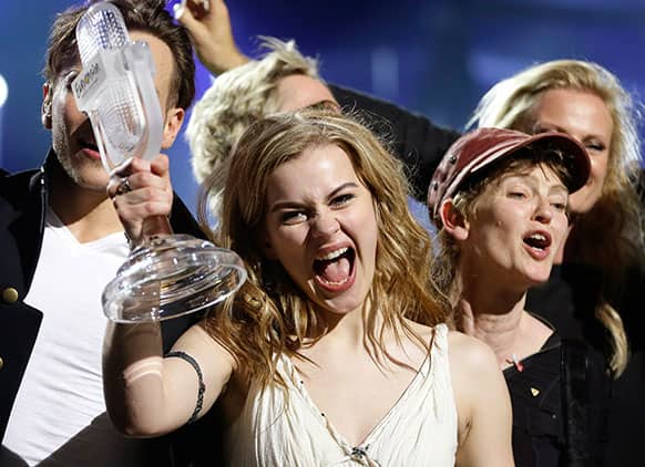 Winner of the 2013 Eurovision Song Contest Emmelie de Forest of Denmark who sang Only Teardrops, celebrates with the trophy after the final at the Malmo Arena in Malmo, Sweden.