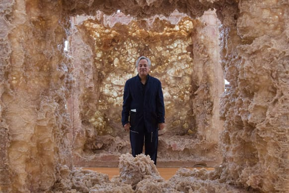 Indian Artist Anish Kapoor stands inside his sculpture `1st Body` in his exhibition `Kapoor In Berlin` at the Martin-Gropius-Bau museum in Berlin. The exhibition will run from May 18, until Nov. 24, 2013.