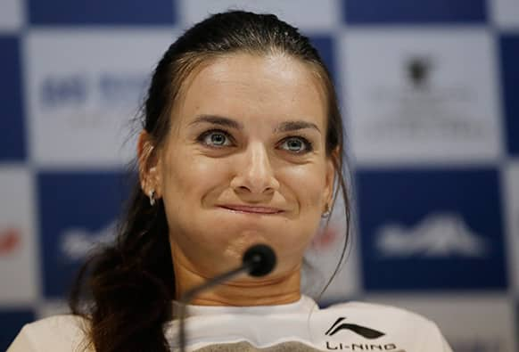Pole-vaulter Yelena Isinbayeva of Russia reacts to a reporter`s question during a press conference ahead of the Diamond League Track and Field in Shanghai, China.