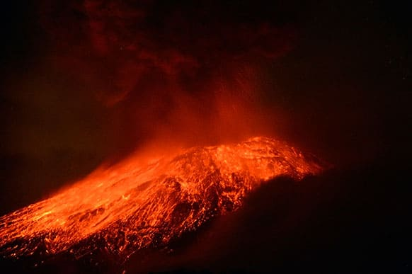 Lava flows from the Popocatepetl volcano after an eruption, seen from Tlamacas, Mexico.
