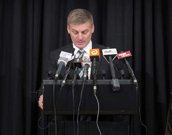 New Zealand`s Finance Minister Bill English delivers his annual budget to reporters and analysts in Wellington, New Zealand. In his budget address, English outlined plans to return the country to surplus by the year beginning July 2014.