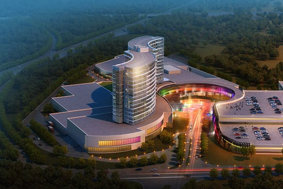 This architectural rendering, released by Regan Communications shows a new design for a resort casino that the Mashpee Wampanoag tribe hopes to build in Taunton, Mass. if the tribe wins state and federal approvals for the project.