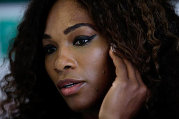 Serena Williams, of the US, meets the media during the Rome`s tennis master tournament.
