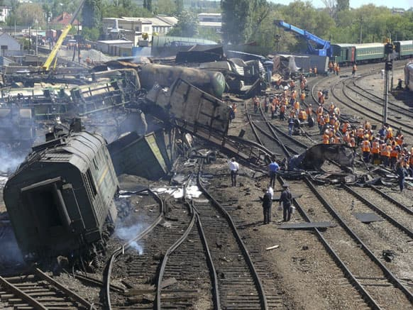 This image taken from Ministry for Emergency Situations, Rostov-on-Don region branch website, a wrecked freight train with 50 tankers carrying fuel is derailed at Balaya Kalitva railway station.