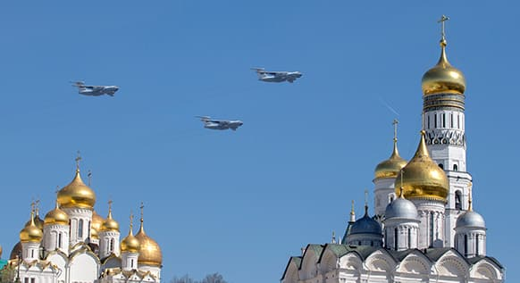 Russian military transport planes fly over the Kremlin during Victory Day Parade at the Moscow Red Square, Russia.