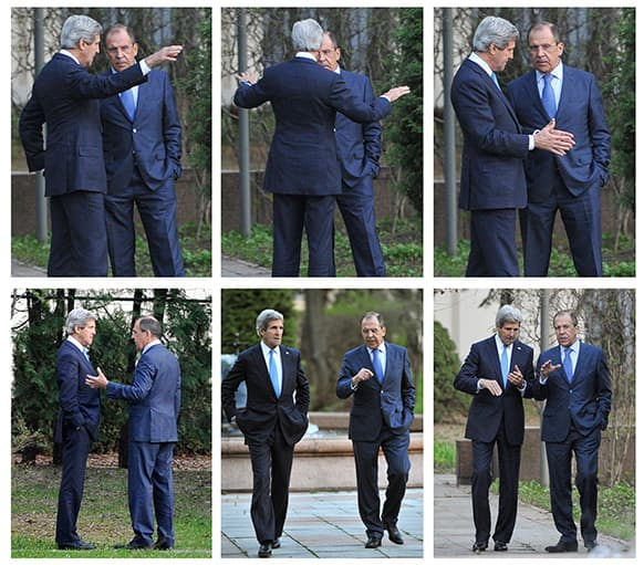 A combo photo made from six separate images, showing some of the interaction between Russian Foreign Minister Sergey Lavrov, right on each image, and US Secretary of State John Kerry, speaking while taking a walk in the garden of the Foreign Ministry mansion in Moscow, Russia.