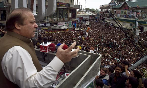 Pakistan`s former Prime Minister and leader of the Pakistan Muslim League Nawaz Sharif speaks during an election rally in Murree, Pakistan.