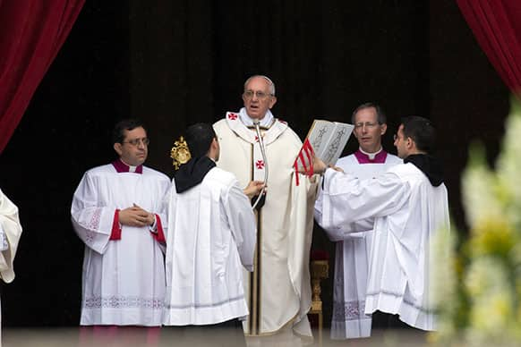 Pope Francis celebrates a mass for Confraternities, in St. Peter`s Square at the Vatican.